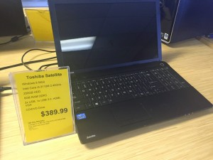 affordable laptops, including an Intel i3 Toshiba Satellite with Windows 8 for $389, and a refurbished i7 iMac Apple computer in great condition for $1099